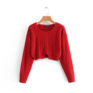 RED BEIGE BLACK WHITE KNIT CROPPED SWEATER