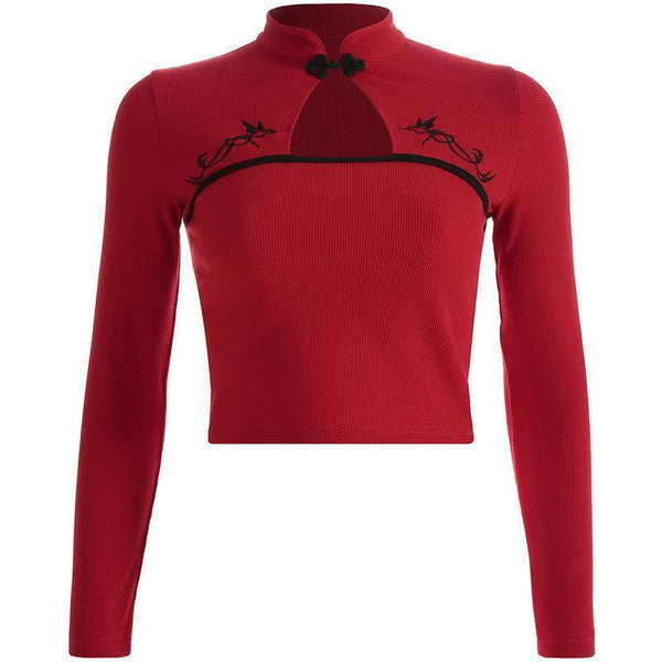 RED CHINESE STYLE ELEMENTS THIN KNIT CROPPED SHIRT