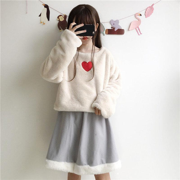 RED HEART COZY PLUSH CREAMY LONG SLEEVE SWEATSHIRT