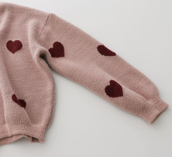 RED HEARTS PRINT PINK KNITTED OVERSIZED SWEATER