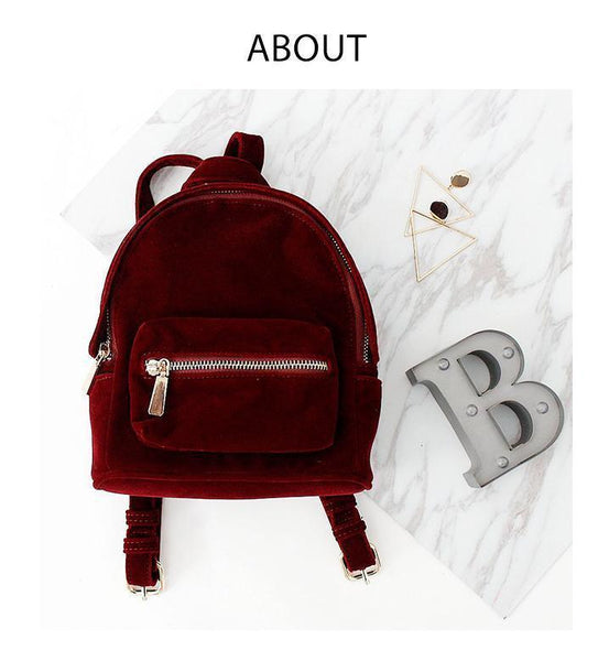 RED VELVET COLLEGE DOUBLE ZIPPER GRUNGE BACKPACK