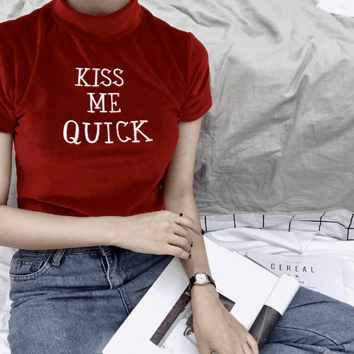 RED VELVET SHORT SLEEVE KISS ME QUICK EMBROIDERY TOP