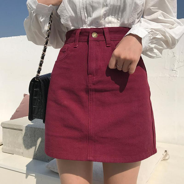 RED WINE BASIC COLOURS DENIM JEAN PENCIL ABOVE KNEE SKIRT