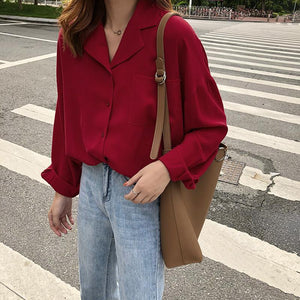 RED WINE CASUAL STYLE TURN DOWN COLLAR LOOSE BLOUSE