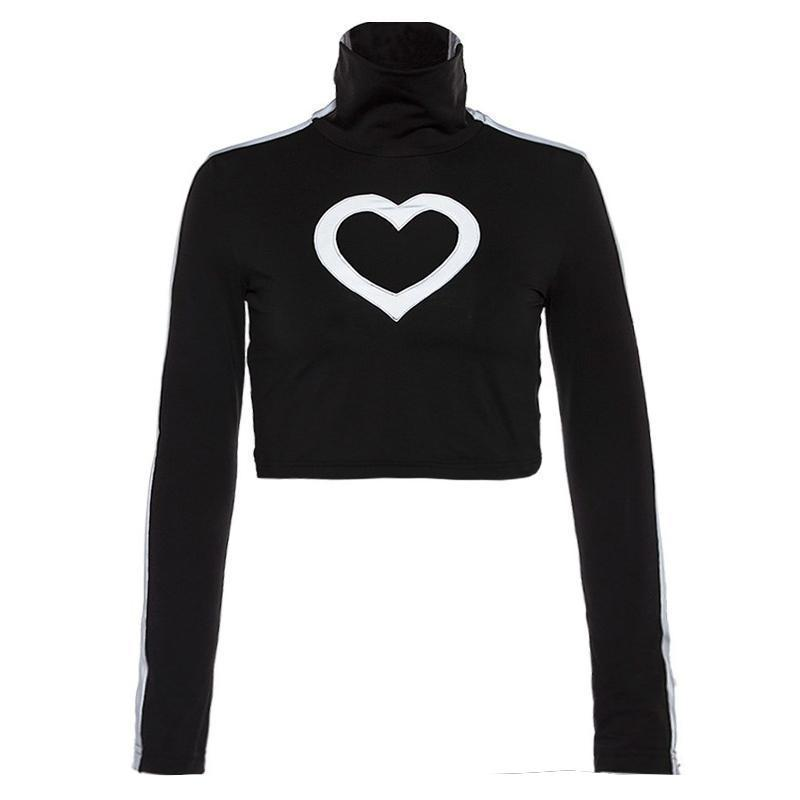 REFLECTIVE HEART HOLLOW TURTLE NECK LONG SLEEVE CROP TOP