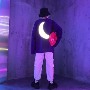 REFLECTIVE MOON PRINTING LONG SLEEVE T-SHIRT
