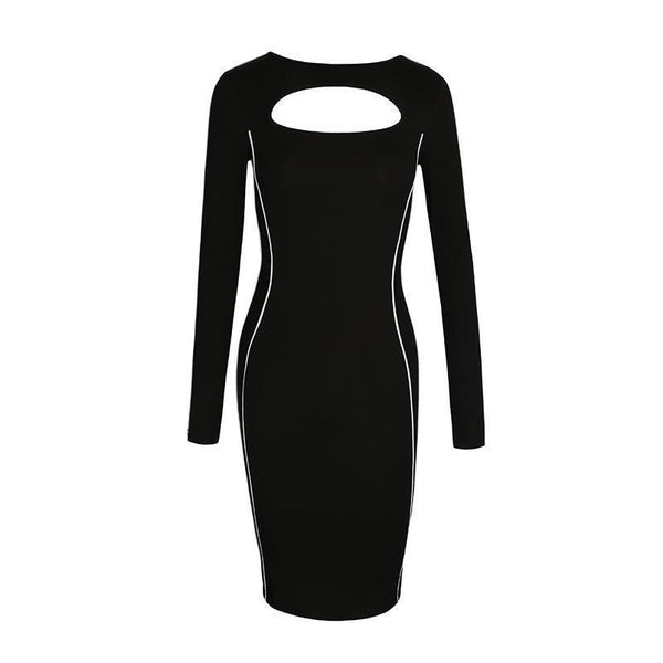 REFLECTIVE SIDE STRIPES PRINTING SLIM BLACK DRESS