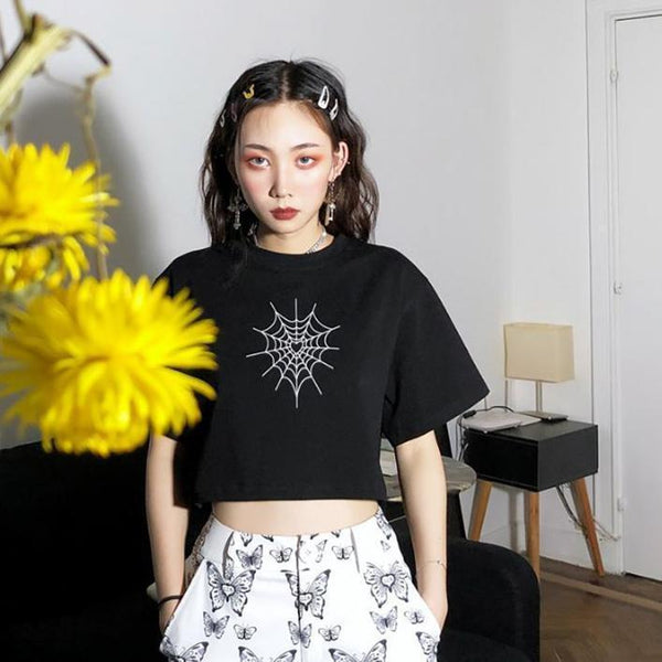 REFLECTIVE SPIDERWEB PRINTED BLACK CROPPED TOP
