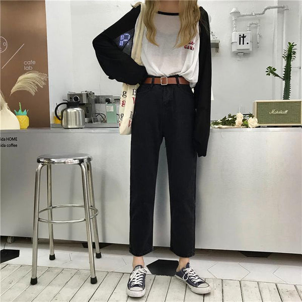 RETRO BLUE BLACK HIGH ANKLE JEANS