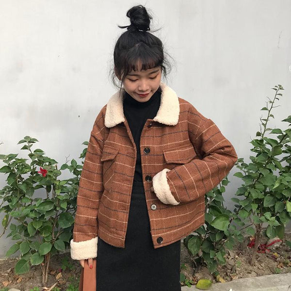 RETRO BROWN GRAY BEIGE PLAID FLUFFY COLLAR JACKET