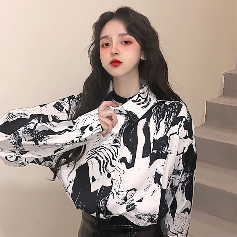 RETRO BW PRINT LONG SLEEVED BLOUSE SHIRT