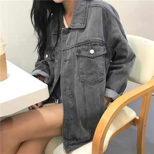 RETRO GRAY BUTTONS DENIM UNISEX LOOSE JACKET