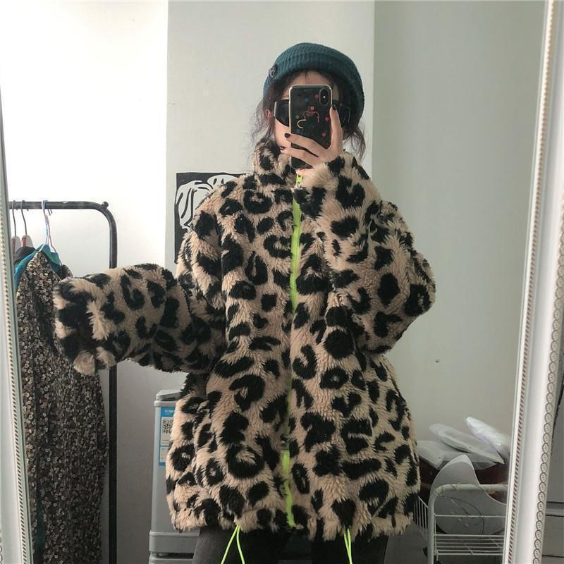 RETRO LEOPARD FAUX FUR NEON ZIPPER JACKET