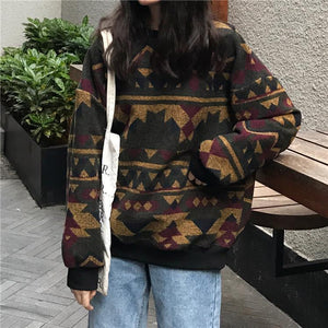 RETRO PATTERN LOOSE O-NECK SWEATER