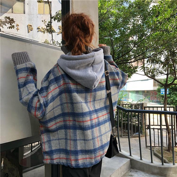 RETRO PLAID GRAY BEIGE HIGH COLLAR HOODED JACKET