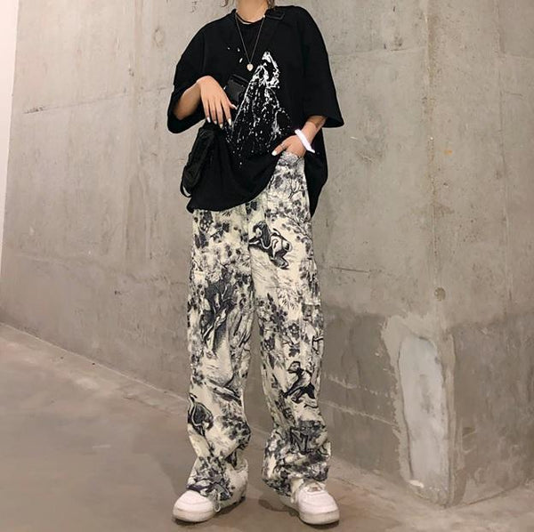 RETRO PRINT ART HOE WHITE STRAIGHT WIDE PANTS