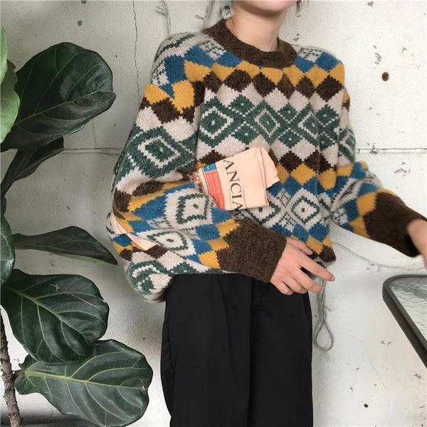 RETRO RHOMBIC RUSTIC COLORFUL PATTERN SWEATER