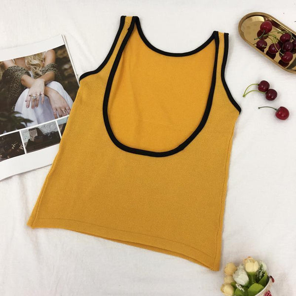 RETRO SLIM KNIT SUMMER COLORFUL OPEN BACK SLEEVELESS TOP