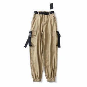 RETRO STREET STYLE POCKETS HIGH WAIST LOOSE PANTS