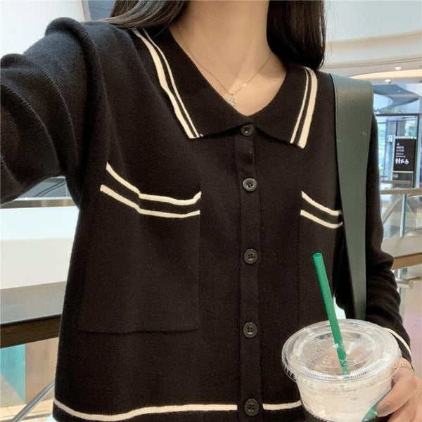 RETRO STRIPES PETER PAN COLLAR THIN CROPPED CARDIGAN