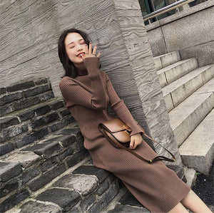 RIBBED HIGH COLLAR CASUAL LONG DRESS