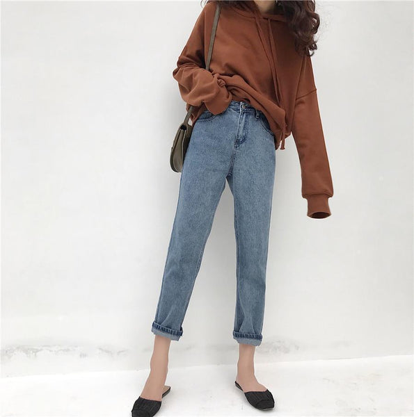 ROLLED CUFFS RETRO BLUE BOYFRIEND LOOSE JEANS