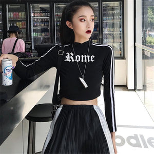 ROME PRINT SIDE LINES BLACK CROPPED LONG SLEEVE TOP
