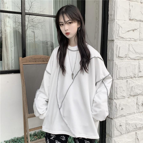 ROUND NECK SEWING LONG SLEEVE OVERSIZED SWEATSHIRT