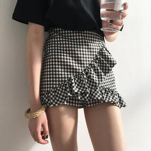 RUFFLED HIGH WAIST PLAID SHORT SKIRT