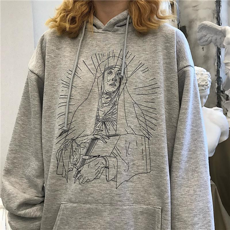 SAINT PRINT SOFT GRUNGE LOOSE HOODED SWEATSHIRT