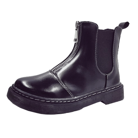 SALE FRONT ZIPPER FLAT LEATHER BOOTS