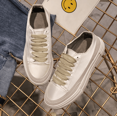 SATIN SHINY LACEUP FLATFORM CASUAL SNEAKERS