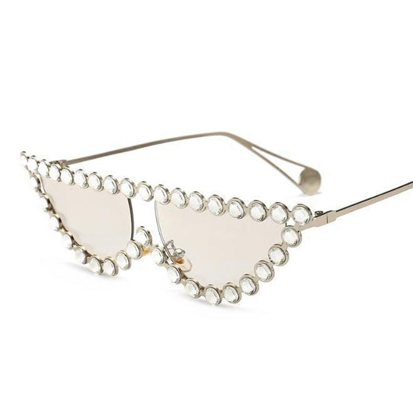 SHINY ELEGANT METALLIC FRAME DIAMOND SUNGLASSES