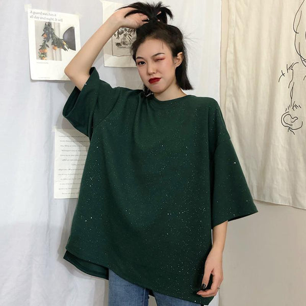 SHINY OVERSIZED SOLID COLORS ROUND NECK T-SHIRT