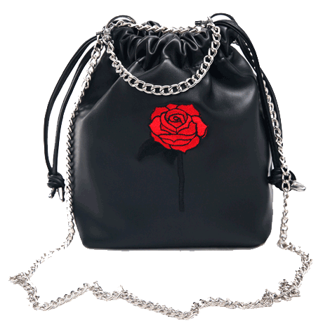 SHOULDER CHAIN ROSE EMBROIDERY BLACK PU LEATHER BAG