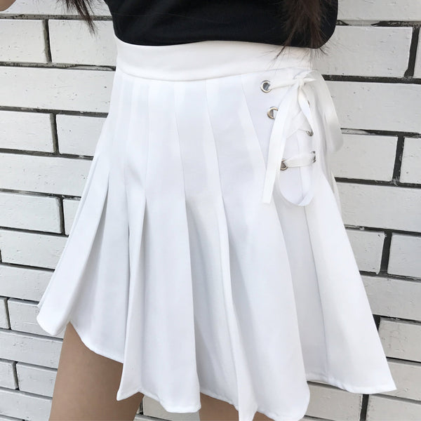 SIDE LACE UP PASTEL COLORS PLEATED SKIRTS