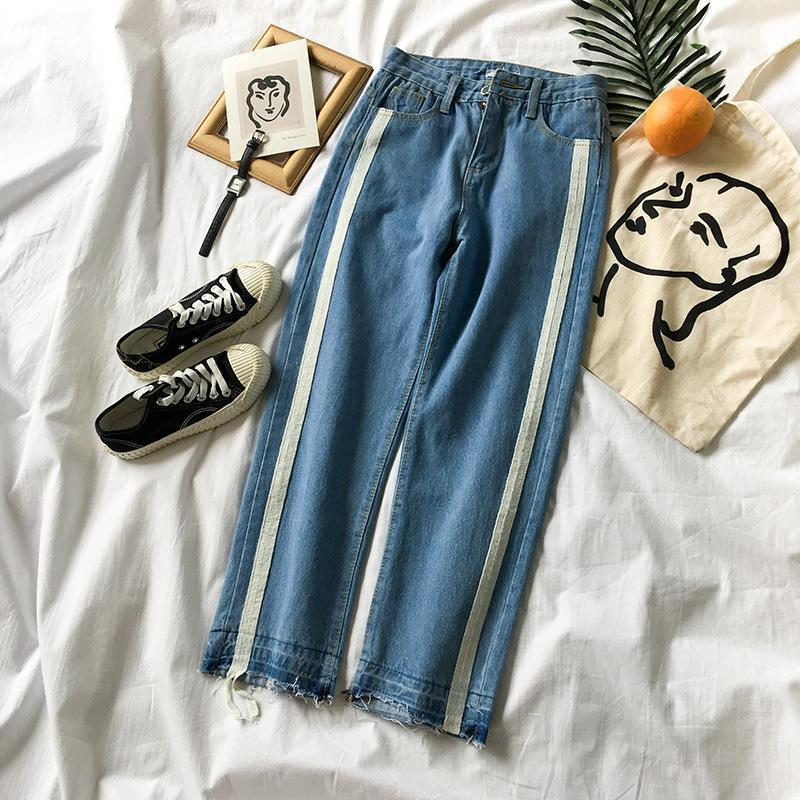 SIDE LINES BLUE RIPPED SPORTISH DENIM PANTS