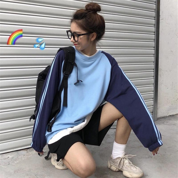 SIDE STRIPES BLUE COLOR BLOCK OVERSIZED SWEATSHIRT