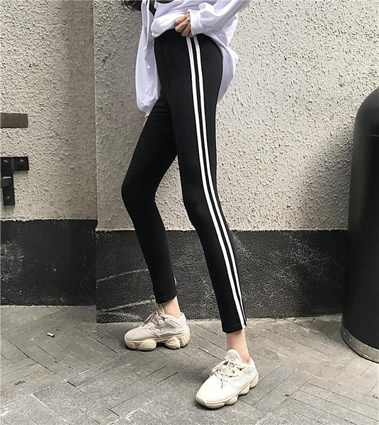 SIDE STRIPES TIGHT STRETCH FITNESS PANTS