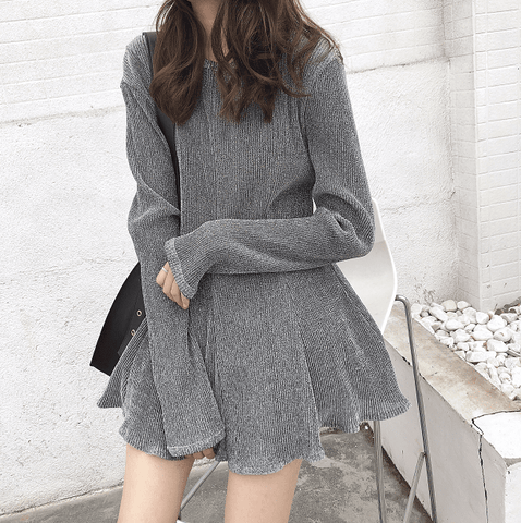 SILVER GRAY OVERSIZED LONG SLEEVE STRIPES KNIT SHORT DRESS