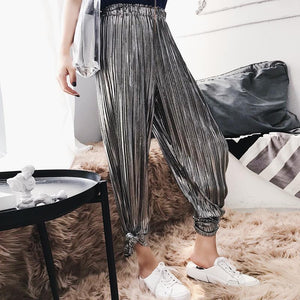 SILVER METALLIC SHINY LONG OVERSIZED ELASTIC ELEGANT PANTS