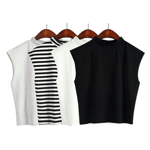 SLEEVELESS COTTON MINIMALISTIN TOP SHIRTS