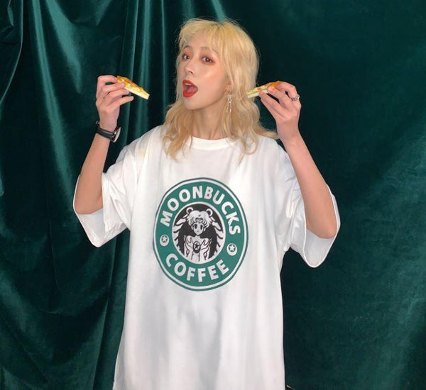 SM MOONBUCKS COFFEE PRINTING OVERSIZED T-SHIRT