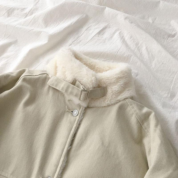 SOFT AESTHETIC FAUX FUR WARM LINING LOOSE JACKET