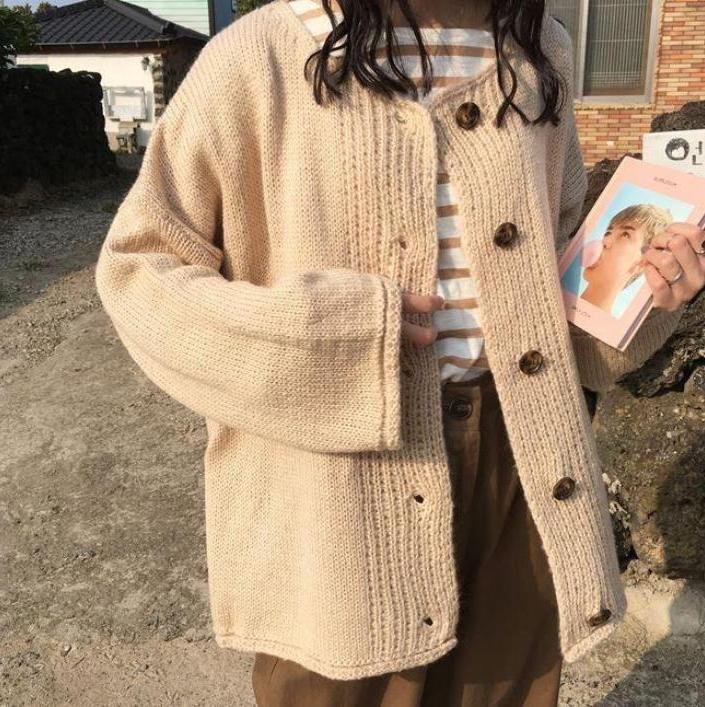 SOFT COZY KNIT BIG BUTTONS OVERSIZED CARDIGAN