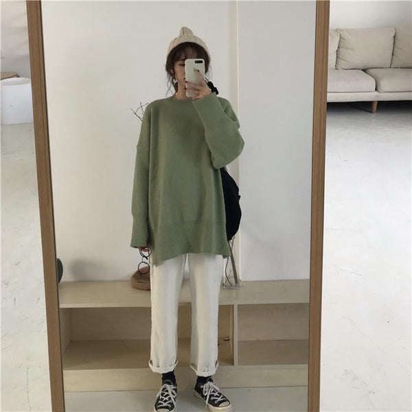 SOFT COZY OVERSIZED SOLID COLORS KNITTED SWEATER