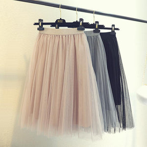 SOFT LIGHT LONG GAUZE ELASTIC ELEGANT SKIRT