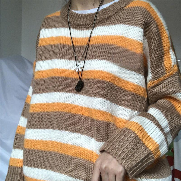 SOFT WOOLEN AUTUMN COLORS KNIT RIPPED LOOSE SWEATER