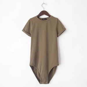 SOLID COLOR ROUND NECK SHORT SLEEVE BODYSUIT