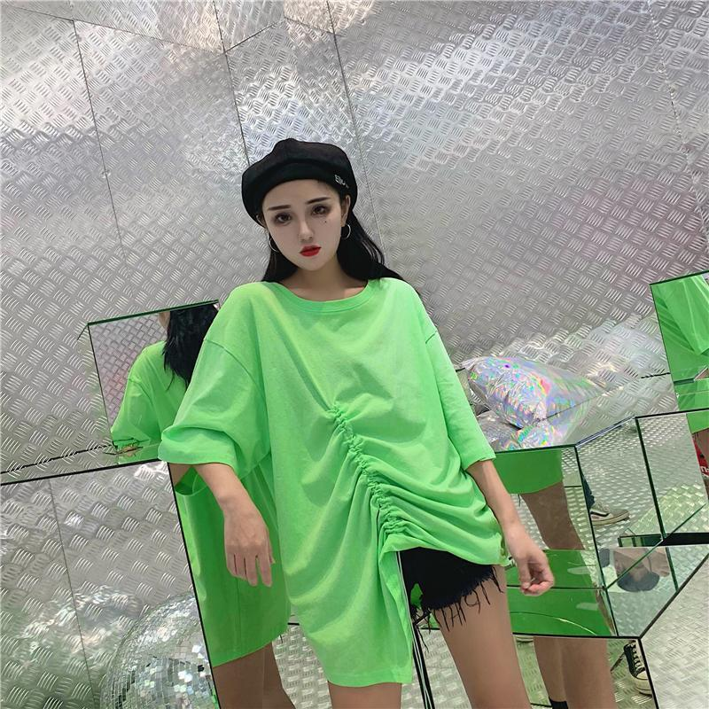 SOLID COLORS DRAWSTRING OVERSIZED ASYMMETRIC T-SHIRT